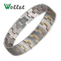 Wollet Jewelry Stainless Steel Magnetic Bracelet for Men Silver and Gold Color All Magnets Health Care Healing Copper