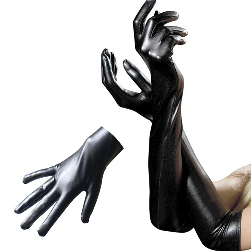 New Sexy Faux Leather Shiny Long Latex Glove Punk Gloves Sexy Hip-pop Jazz Outfit Mittens Culb Wear Cosplay Costumes Accessory