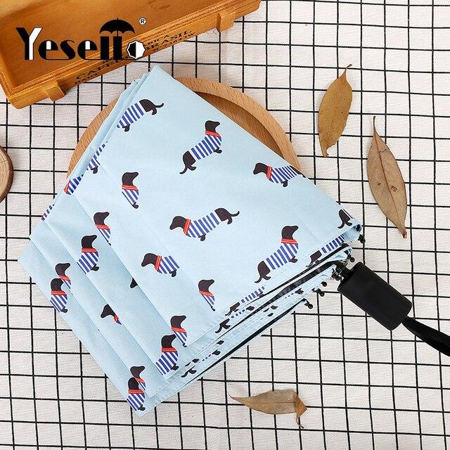 Yessello полосатый собака зонтик Карманный Зонт Три складной свежий вечерние подряд собак Зонтик Солнечный дождливый розовые зонты Для женщин