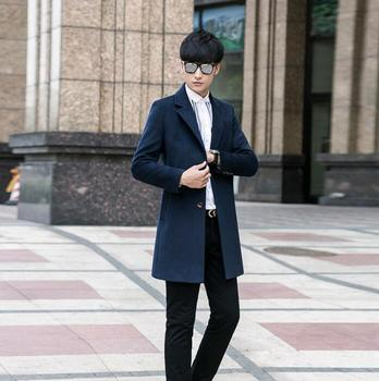 Single-breasted casual woolen coat men trench coats long sleeves overcoat mens cashmere coat casaco masculino england dark blue