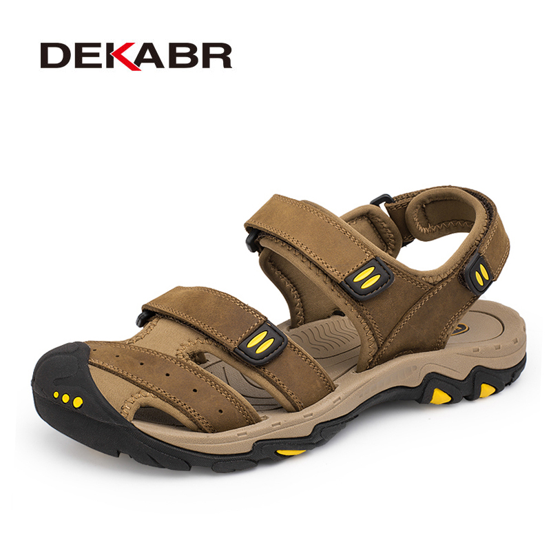 DEKABR New Fashion Summer Shoes Cow Leather Men Sandals Mens Casual Shoes Non-slip Rubber Soles Beach Shoes Plus Size 38 ~ 47(China)