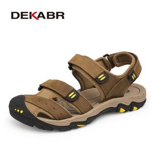 Image 1 - Мужские сандалии из воловьей кожи DEKABR, модная повседневная обувь цвета хаки, нескользящая пляжная обувь с резиновой подошвой, большие размеры 38 47, лето 2019