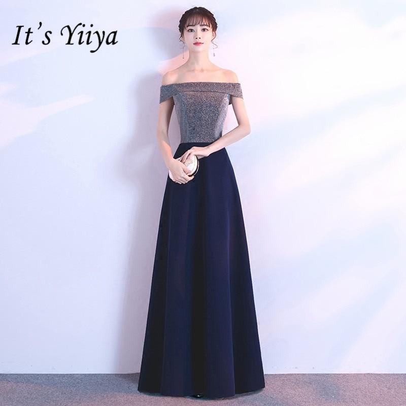 C'est YiiYa Bling robe de soirée Sexy col bateau bleu marine brillant longues robes de bal élégant longueur de plancher robes de soirée formelles E130