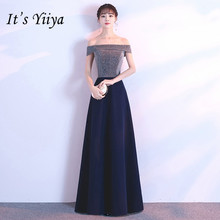 Its YiiYa Bling Evening Dress Sexy Boat Neck Navy Blue Shining Long Prom dresses Elegant  Floor length Formal Party Gowns E130