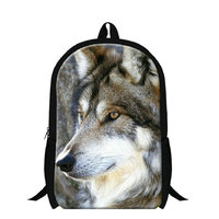 Dispalang Wolf Head Printed School Bags For Boys 3D Zoo Animals Backpack For Teenagers Men S