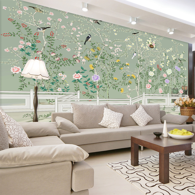 Free Shipping Seamless Mural Of Modern Chinese Flower And Bird YuLan Hand Painted Wallpaper TV