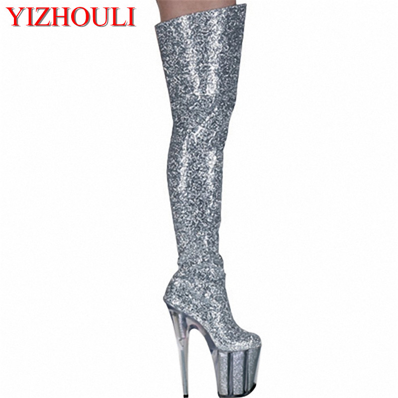 Shining Silver 20CM Ultra High Heels Boots Barreled Platform Fashion PU Leather 8 Inch Performance Shoes Sexy Thigh High Boots 20cm sexy ultra high heeled platform shoes performance shoes platform black pu leather single shoes 8 inch fashion crystal shoes