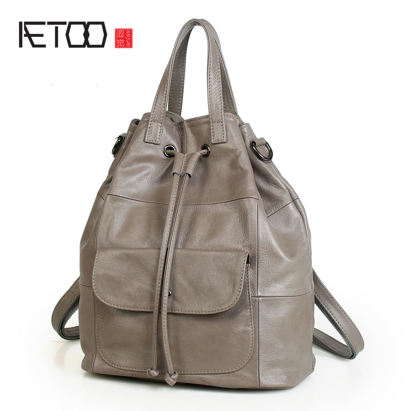 AETOO New wild cowhide leather bag retro style students shoulder bag female travel anti theft backpack