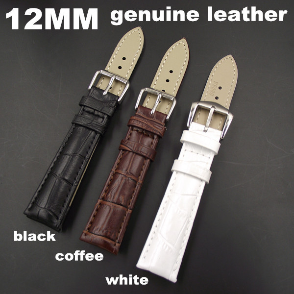 1PCS High quality 12MM genuine cow leather Watch band watch strap coffee,black,white color available -WB0016 1pcs high quality 18mm 19mm 20mm 22mm 24mm genuine cow leather watch band watch strap coffee black white color