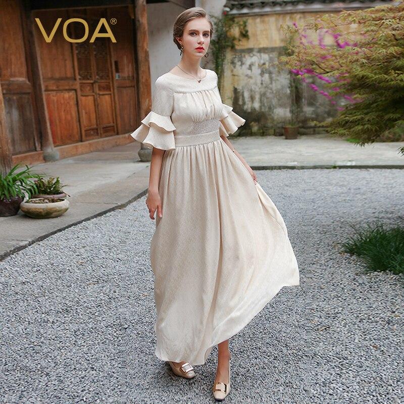 VOA плюс Размеры шелковое длинное платье бежевый туника с высокой талией рюшами рукава Симпатичные Для женщин качели платья Mori Girl осень vestido