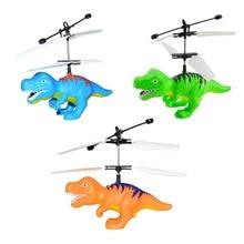 Электрический RC Летающие игрушки Инфракрасный Сенсор в натуральную величину модель динозавра вертолет светодиодный вспышка освещение зарядка через usb маленький динозавр RC Летающие игрушки