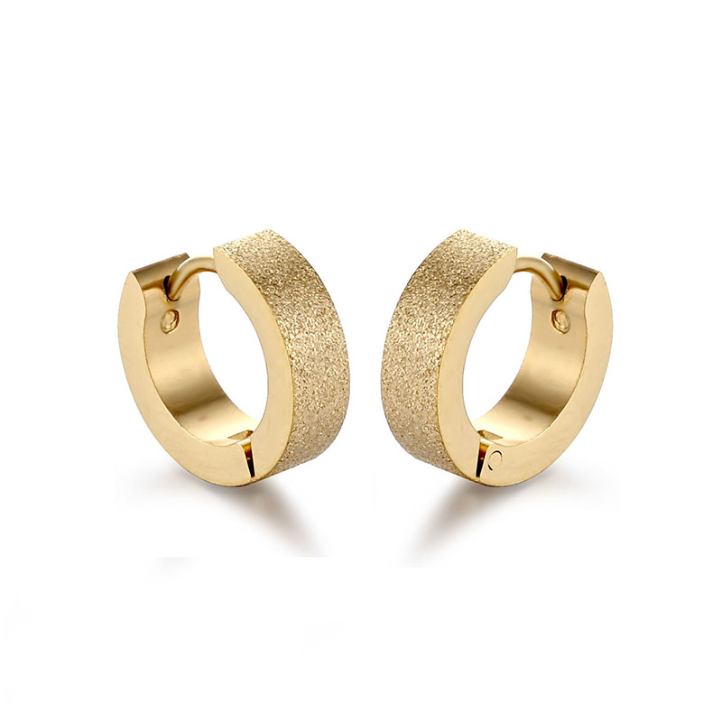 fcf22a6f56301 Semitree Stainless Steel Colorful Frosted Matte Hoop Earrings Men ...