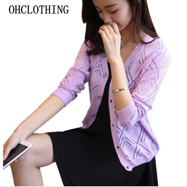 18 new women's Korean long sleeved knit cardigan collar hollow V simple air conditioning shirt female coat F1844 2
