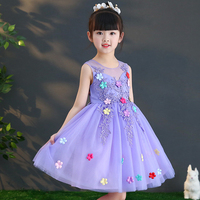 Dress ethnic style embroidery flower girl robe colorful dress 2019 purple pink baby ball gown princess sleeveless party children
