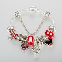 Annapaer europeu charme pulseira grânulo com mickey charme pulseira caber jóias originais bracciali donna presente para as mulheres b19075