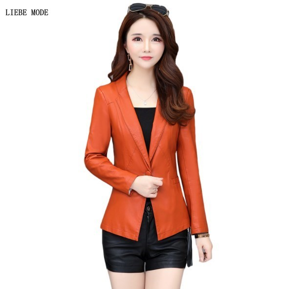 Women Faux   Leather   Blazer Woman Notched Slim Fit Jacket Plus Size Formal Suits Female One Button Work Pu   Leather   Coats