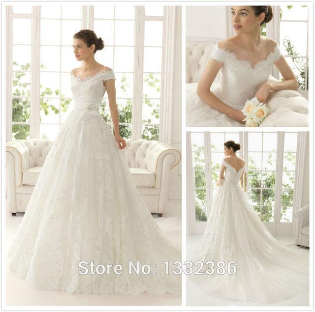 HotCustom Made A Line Lace Bridal Gowns Portrait Neckline