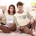 Nova moda primavera outono dos desenhos animados gato amor peixe casal Sleepwear pijama 100% algodão treino mulheres pijama XXXL