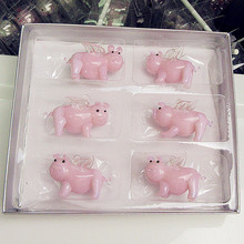 6pcs Custom Hand Blown Glass Pendant Pink Pig statues Christmas tree decoration glass creative cartoon animal small sculpture