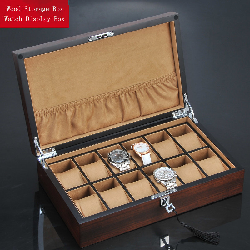 Top 12 Slots Wooden Watch Display Box New Watch And Jewelry Gift Case Brown Wood Watch Storage Mens Mechanical Watch Box W097 luxury wood watch box packagin top window for 10 watches storage box wooden watch display high quality watch case men gift
