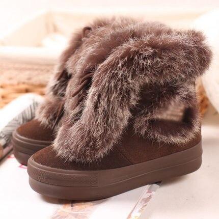 Christmas Warm Brown Leather Fur Winter Boots Women Platform Shoes Size38,39