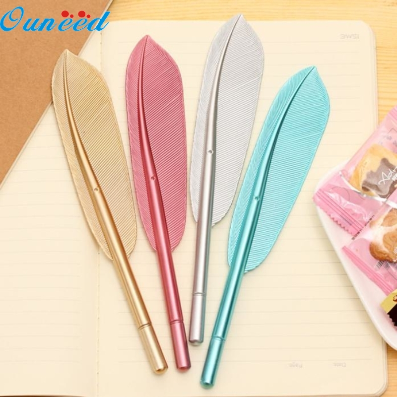 Ouneed Happy Home 4Pcs Quill Pens New Cute Wing Feather Ballpoint Ink Pens Creative Stationery Student Gift