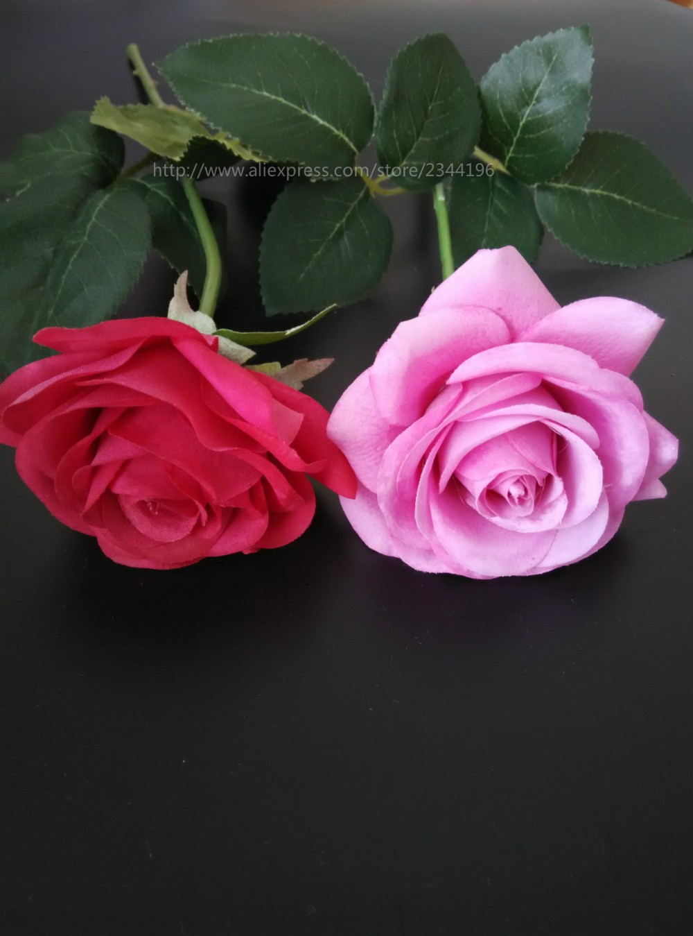 Single Pink Artificial Roses Wedding Decoration Flower For Baby Girl