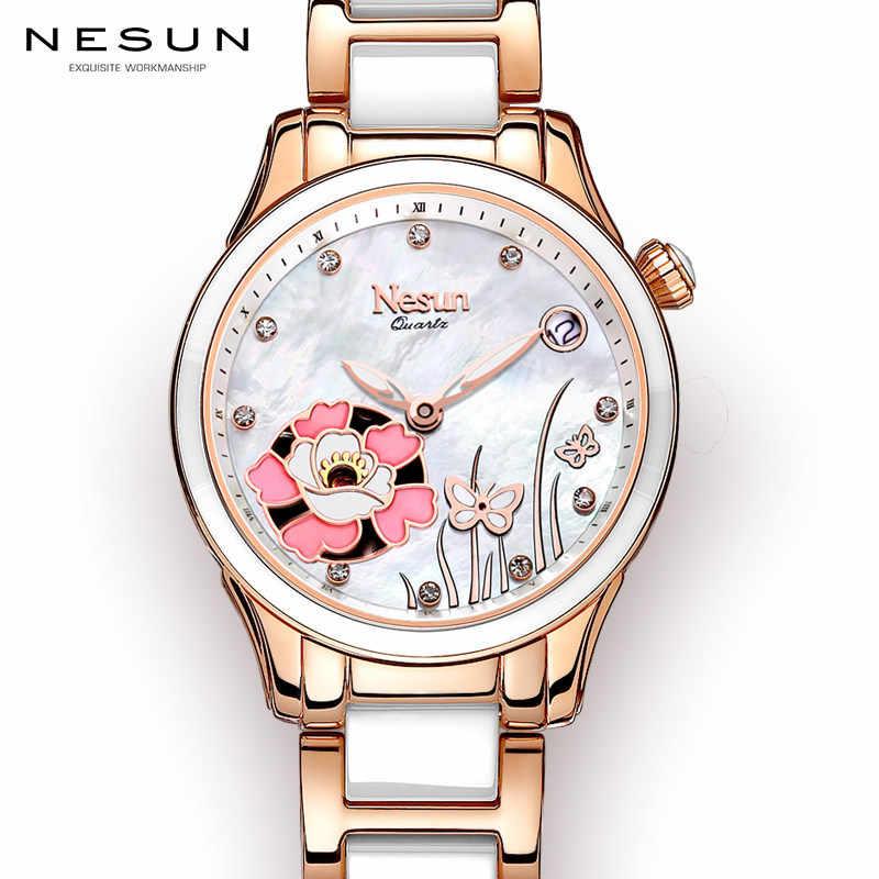 b7d3f09b Nesun для женщин часы Швейцария Элитный бренд кварцевые часы для женщин сапфир  Relogio Feminino часы Diamond