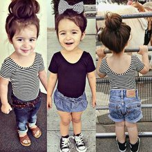 купить Baby Girls T Shirt Short Sleeve Kid Summer Shirt Crop Tops Striped Modal Shirts Tee Kids Clothing bebe menina дешево