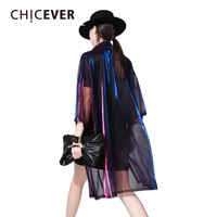 CHICEVER 2017 Summer Half Sleeve Colorful Transparent Long Female T shirt Women Big Sizes Cardigan Tops Clothes Korean Casual
