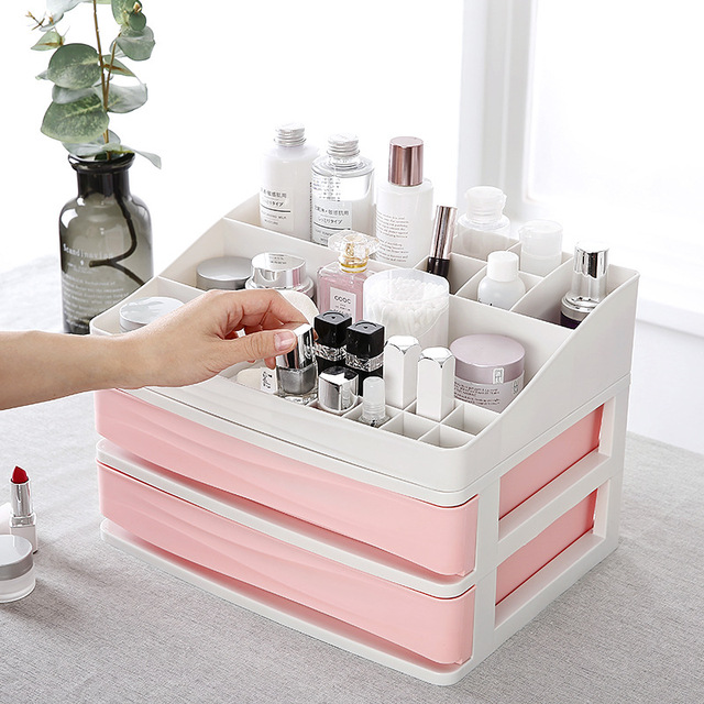 JULY'S SONG Plastic Cosmetic Drawer Makeup Organizer Makeup Storage Box Container Nail Casket Holder Desktop Sundry Storage Case