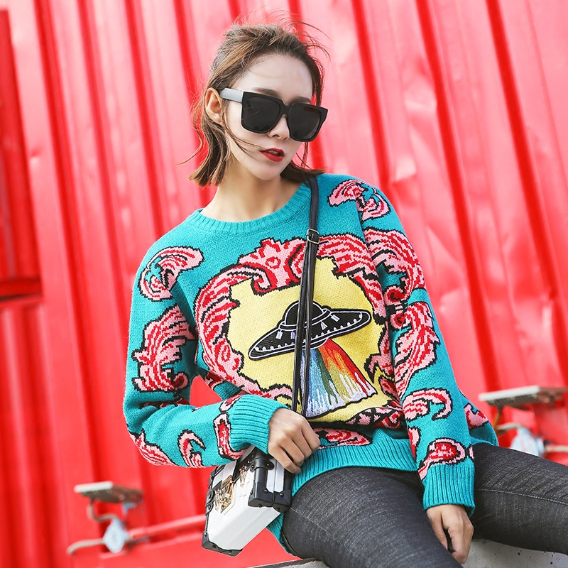 Women New vintage warm sweaters UFO Clouds Jacquard pullovers