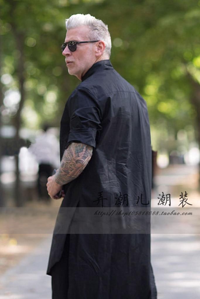S 6XL 2017 Spring and summer slim personality male medium long long sleeve font b shirt