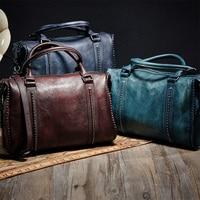 Genuine Leather Shoulder Bags Handbag Woman Vintage Cowhide Leather Tote Euro Retro Shopping Bag Euro Classic High Quality Bags