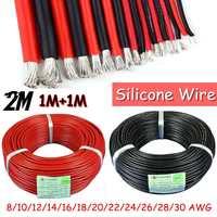 1 m 실리콘 와이어 8/10/12/14/16/18/20/22/24/26 awg 블랙 레드 내열성 연질 실리콘 실리카 젤 케이블 sr 와이어 유연한 좌초|플러그 & 커넥터|가전제품 -