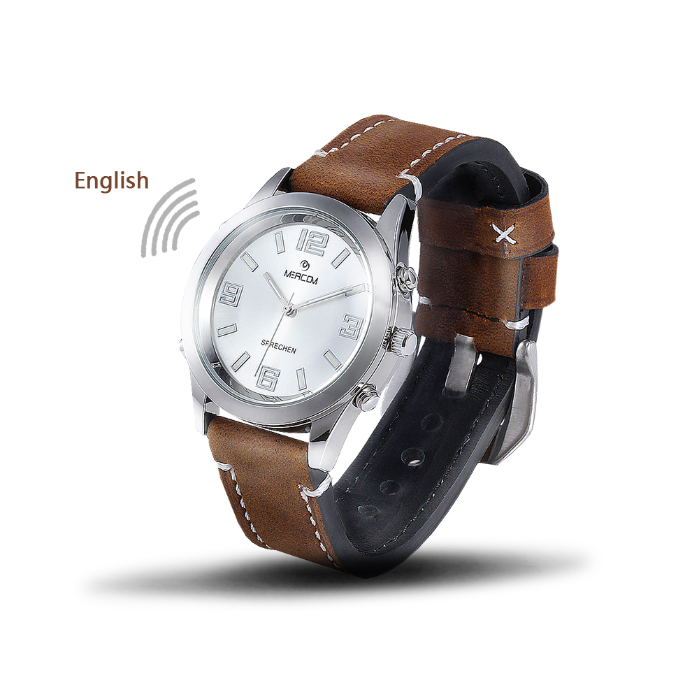 Speaking Wristwatch with Leather Strap and Stainless Steel Time Announcement Talking Watch for Aged / Blind / Visually Impaired все цены