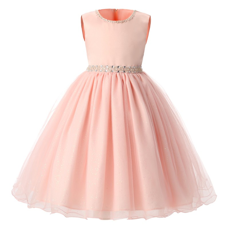 New Pink Children Dresses For Girls Kids Formal Wear Princess Dress For Baby Toddlers Girl 8 Year Birthday Party Dress summer 2017 new girl dress baby princess dresses flower girls dresses for party and wedding kids children clothing 4 6 8 10 year
