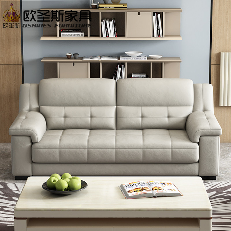 2019 New Arival Pure Color Decoration Modern Style Recliner 1+2+3 Seats  Combination Living Room Genuine Leather Sofa OCS-K009A