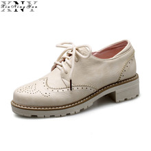 XIUNINGYAN 2017 Women's Brogue Shoes Casual Women Platform Loafers Shoes Woman Black White Solid Patent Oxford Shoes for Women