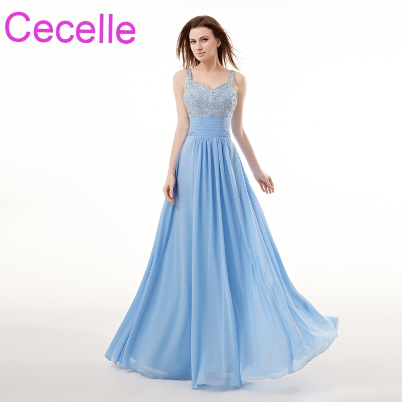 Blue Chiffon Long Evening Dresses 2019 With Straps Beaded A-line Floor  Length Teens Formal Evening Party Dress Coral Night Gown 0b0f60f886ce