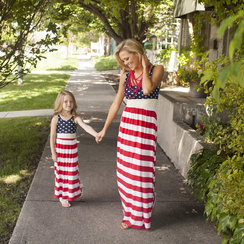 VOGUEON Mother and Daughter Clothes Summer Sleeveless Family Matching Striped Flag Dresses Mommy and Me Maxi Dresses Outfit
