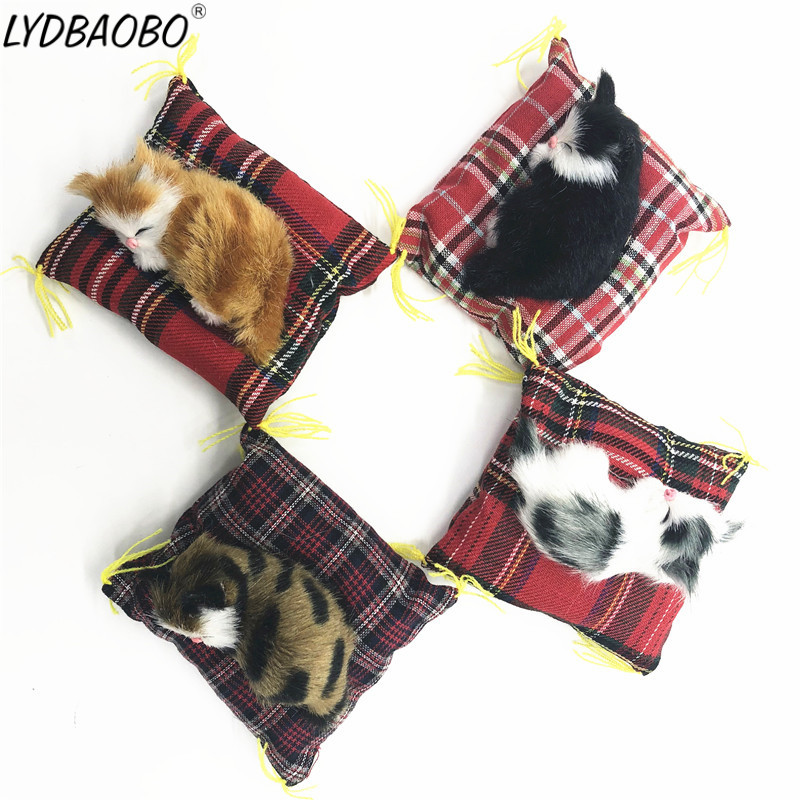 LYDBAOBO 1PC 10CM Sleeping Cats Stuffed Toy Lovely Simulation Animal Doll Plush Toy With Sound Kids Toy Decoration Birthday Gift
