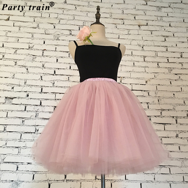 Váy Womens 7 Lớp Midi Vải Tuyn Váy Thời Trang Tutu Váy Phụ Nữ Bóng Gown Đảng Váy Lót 2018 Lolita Faldas Saia