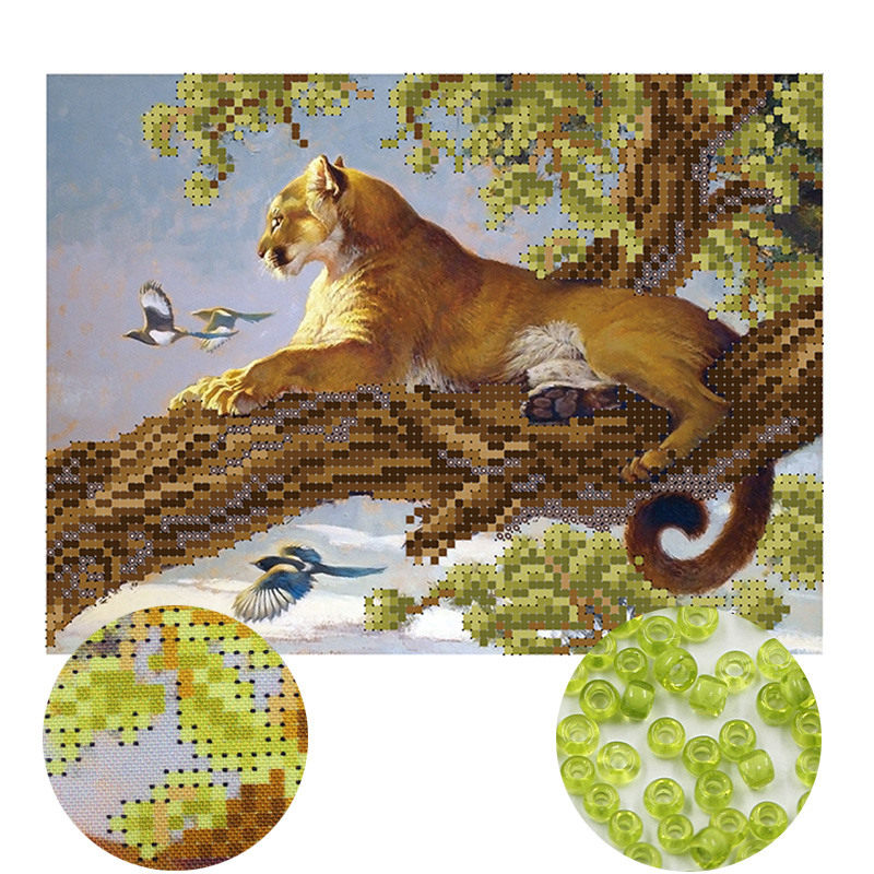 Needlework,DIY Bead Cross Stitch,Embroidery Stitch Leopard,women Precise Printed Scenic Pattern Cross Stitching,wall Decoration