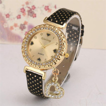 2018 Love Heart Bracelet Watches Women Leather Crystal Quartz Wrist Watch Gold Clock Relojes Mujer Relogio Feminino Montre A60