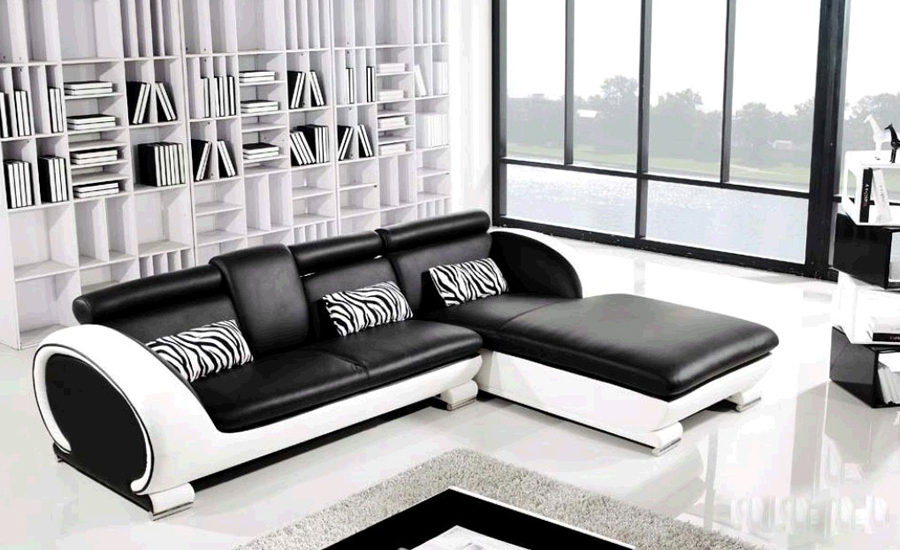 Buy modern sofa design small l shaped for Leather sofa for small living room
