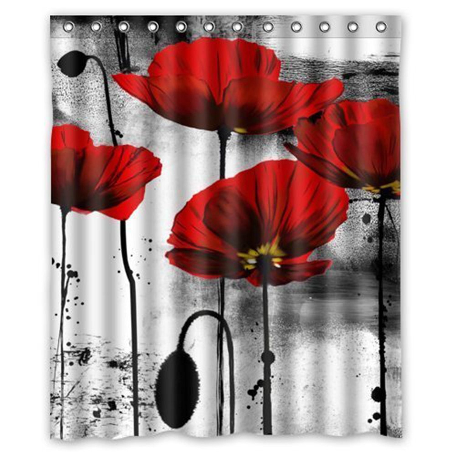 Modern Red Shower Curtains Home Beautiful Vintage Poppy Flower Ink Painting Art Design Mildew Proof Polyester Fabric In Ideas