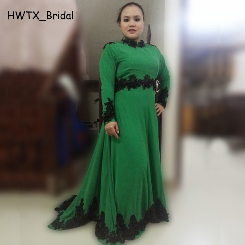 2018 New Mother Formal Dresses Custom Made Plus Size High Neck Long Sleeves Black Lace Green Floor Length Women Prom Party Gowns