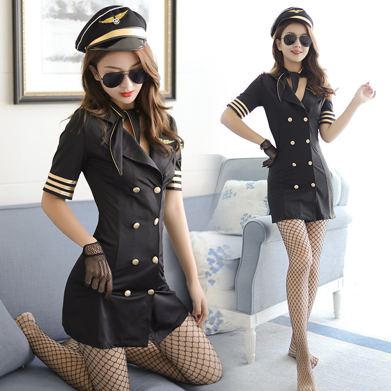 Sexy Lingerie Airline Stewardess Women Flight Attendant Uniform Cosplay Costumes Lingerie Hot Erotic Deep V Sex Babydoll Dress image