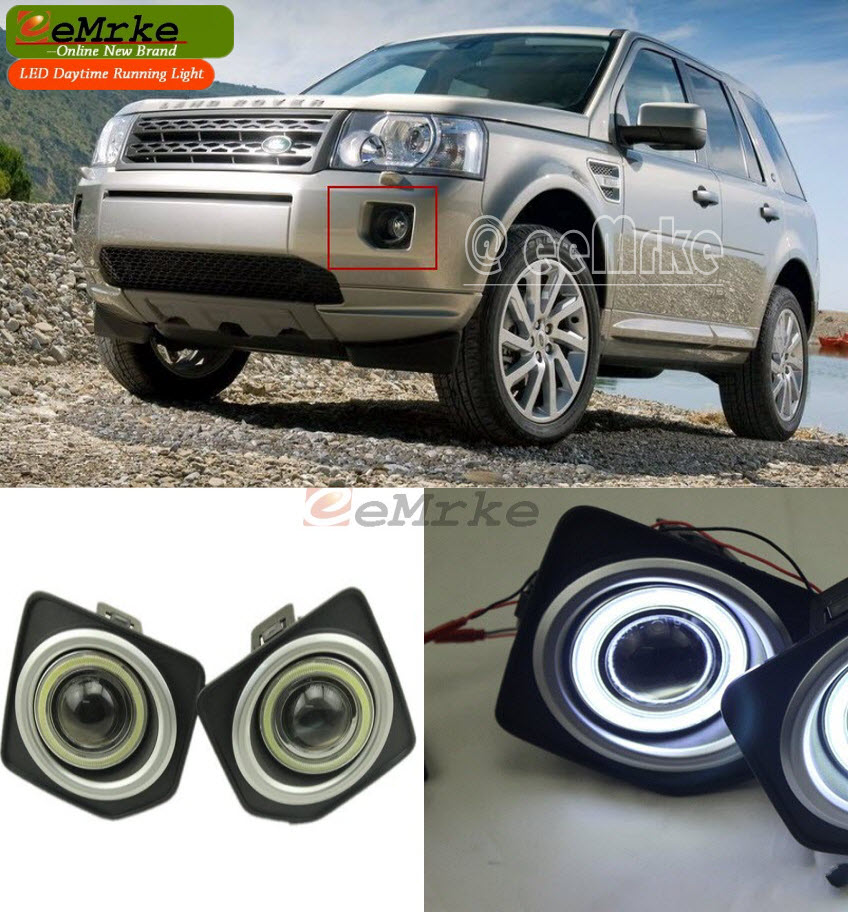 LED Daytime Running Lights FOR Land Rover Freelander 2 2006-2014 COB Angel Eye DRL Fog Light 4300K Halogen Bulbs H11 55W car rear trunk security shield cargo cover for land rover freelander 2 lr2 2006 2017 high qualit black auto accessories